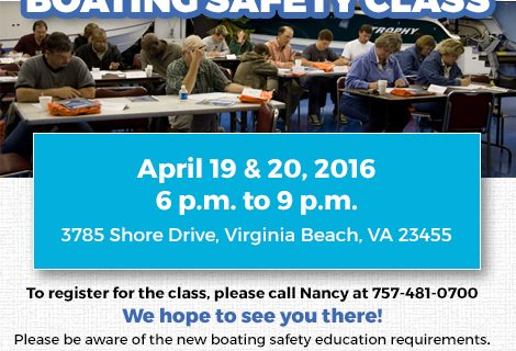 Boating Safety Class – April 19 & 20, 2016