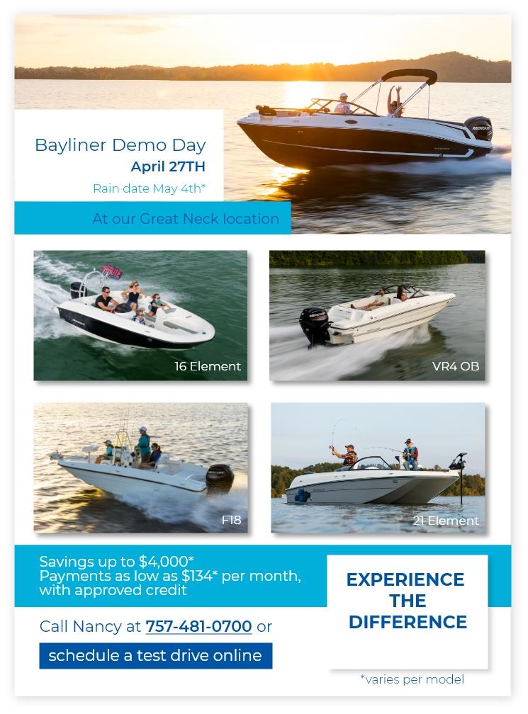 Bayliner Demo Day at Lynnhaven Marine April 27, 2019
