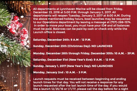 2016 Holiday Operations Launching Schedule